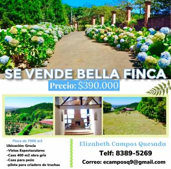 7,000m2 property for sale, with beautiful gardens, cool climate