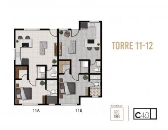 Condominio 1 habitación, 1-1/2 baños, 2 parqueos techados