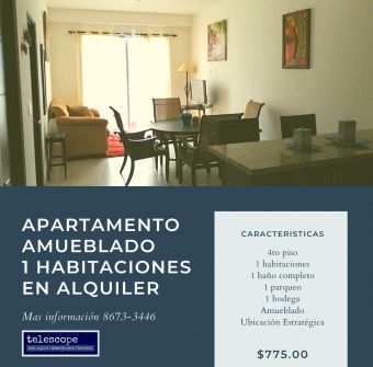 For Rent, Heredia, Fully Furnished 1BR apartment